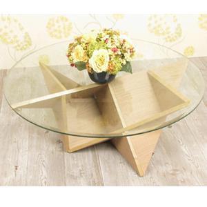 Bàn salon kiếng tròn chân tam giác (96cm x cao 36cm) SBK02